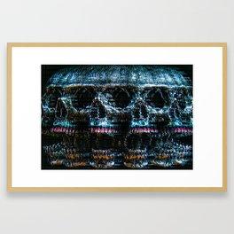 Analogue Glitch Skull Array Framed Art Print