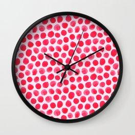 Large Red/Pink Watercolor Polka Dot Pattern Wall Clock