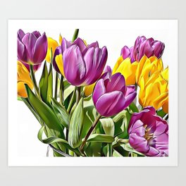 Colourful Tulips Airbrush Artwork Art Print