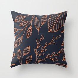 Scandi Leaves Throw Pillow