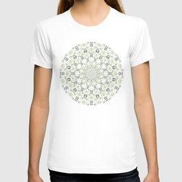 Olive green spring floral mandala T-shirt
