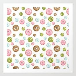 Pattern donuts Art Print