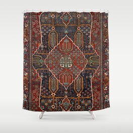 Persian Old Century Authentic Colorful Burnt Orange Rust Red Vintage Rug Pattern Shower Curtain