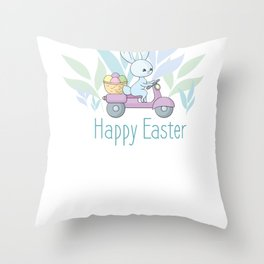 Happy Easter Cute Bunny Riding a Scooter Throw Pillow