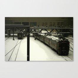 Chicago Winter Train Yard Canvas Print