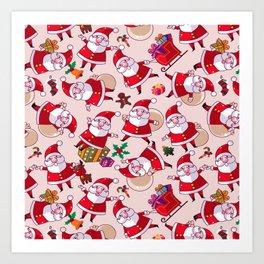 Santa Gift Pattern Art Print