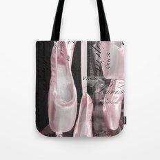 Paris Ballet Pointe Shoes - Paris Ballerina Pink Pointe Shoes - Paris Ballet Art Typography Tote Bag