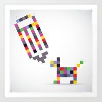 Pixel Doodle Art Print