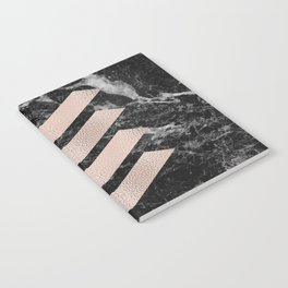 Black marble & rose gold chevrons Notebook