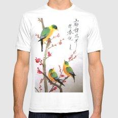 green bird chatting Mens Fitted Tee MEDIUM White