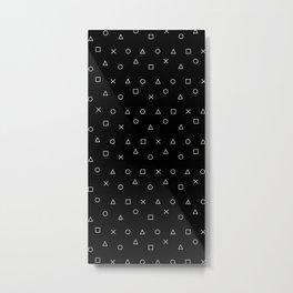 black gaming pattern - gamer design - playstation controller symbols Metal Print