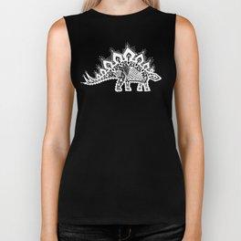 Stegosaurus Lace - White / Silver Biker Tank