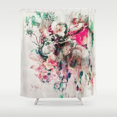 Watercolor Elephant and Flowers Shower Curtain