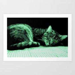 Green Eye Wolf Art Print
