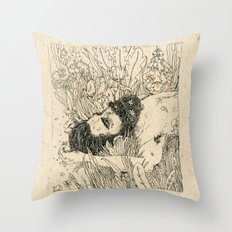 Drowning in foxdowns. Throw Pillow
