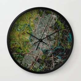 Austin Texas old vintage colorful map, original gift for office decoration Wall Clock