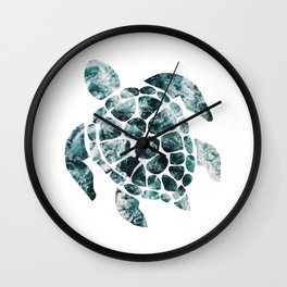 Sea Turtle - Turquoise Ocean Waves Wall Clock