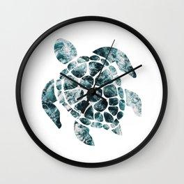 Sea Turtle - Turquoise Ocean Waves Wall Clock