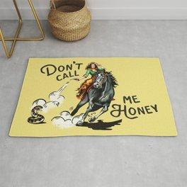"""Don't Call Me Honey"" Cowgirl On Horseback Shooting a Rattlesnake Rug"