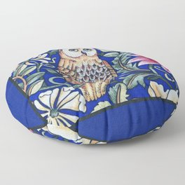 Art Nouveau Owl Tapestry, Beige and Cobalt Blue Floor Pillow