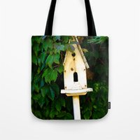 verse Tote Bags featuring Birdhouse Verse by 3 Chics Couture