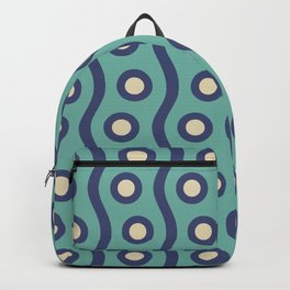Mid Century Modern Rising Bubbles Pattern Turquoise and Blue Backpack