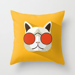 Funny Cat Icon With Glasses Throw Pillow