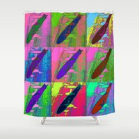 led zeppelin Shower Curtains featuring Zeppelin Warhol by Sara PixelPixie