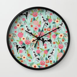 Great Dane dog breed florals mint pattern print for dog owner with great dane must have gifts Wall Clock