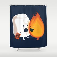 hot Shower Curtains featuring Friendly Fire by Picomodi