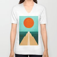 road V-neck T-shirts featuring The Road Less Traveled by Picomodi