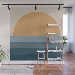 Minimal Retro Sunset / Sunrise - Ocean Blue Wall Mural