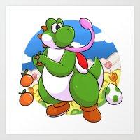 yoshi Art Prints featuring Yoshi! by DoberJam