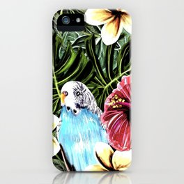 Tropical bird with floral texture iPhone Case