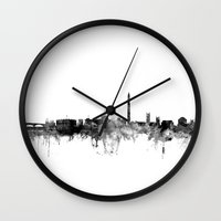 washington dc Wall Clocks featuring Washington DC Skyline by artPause