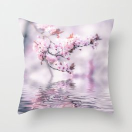 Zen Style Cherry Blossom and Water Throw Pillow
