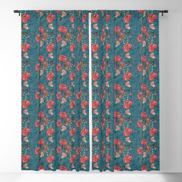 Roses and Butterflies 19 Century Pattern Style Blackout Curtain