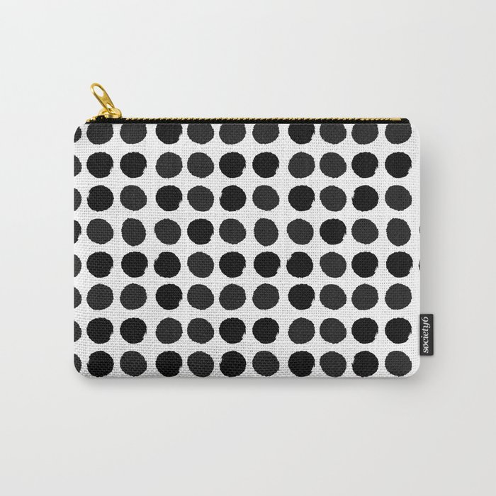 Black and white minimal paint brush painterly dots polka dots minimal modern dorm college painting Carry-All Pouch