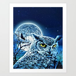Blue Owl in the Woods Art Print
