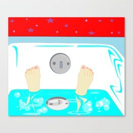 Soaking in the Tub with Red Wallpaper Canvas Print