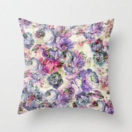 Vintage bohemian rustic pink lavender floral Throw Pillow