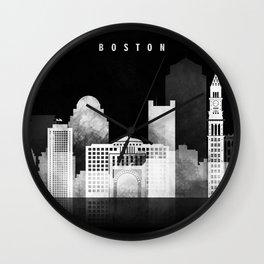 Boston - Black and White Skyline арт work Wall Clock