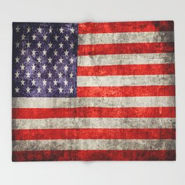 Antique American Flag Throw Blanket