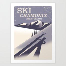 Chamonix-Mont-Blanc Ski poster Art Print