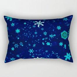 Blue Snowflakes Pattern Rectangular Pillow
