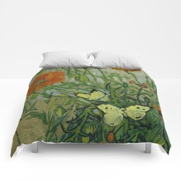 "Vincent Van Gogh ""Butterflies and Poppies"" Comforters"