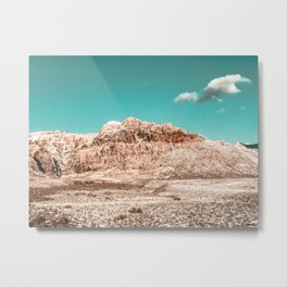Vintage Red Rock Face // Desert Mountain in Winter Las Vegas Landscape Photograph Teal Sky Metal Print