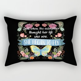 She Began To Fly Hand Lettered Floral Sign Rectangular Pillow