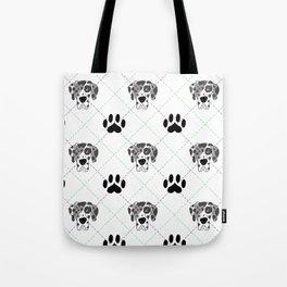 Merle Great Dane Paw Print Pattern Tote Bag