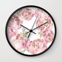 Watercolor Flower Wreath Wall Clock